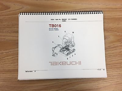 Takeuchi Tb016 Parts Manual Sn 11610001 And Up Free Priority Shipping