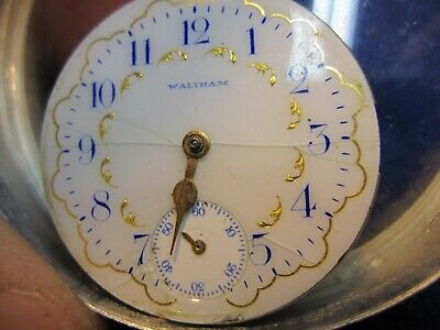 0s Waltham multi color pocket watch dial w ticking movement