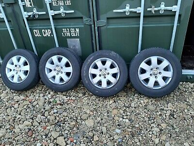 "4X GENUINE VW TRANSPOERTER T5 T6 CAMPER CALIFORNIA 16"" ALLOY WHEELS WITH TYRES"