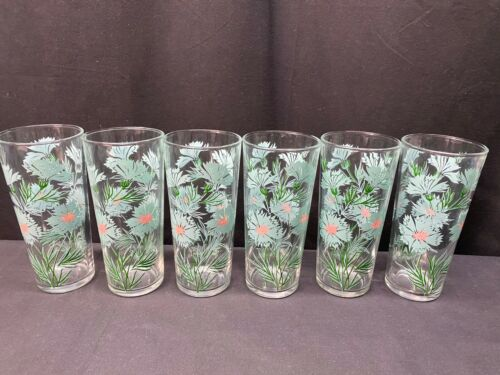 "Set of 6 ~ Mid-Century Turquoise & Pink Floral Glass Tumblers  ~ 6 1/4"" Tall"