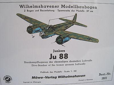 Junkers Ju 88 Flugzeug Wilhelmshavener Modellbaubogen Bastelbogen
