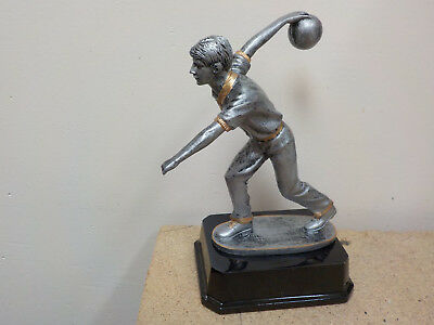 """Nice Male Bowling Trophy, 6"""" Tall, Black Base, Pewter Color, W/ Engraving"""