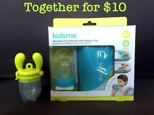 Kidsme Food Feeder and Reusable Food Pouch & Adapter set
