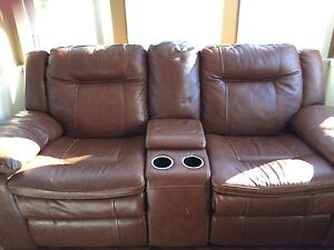 2 seat real leather brown rocking, recliner couch
