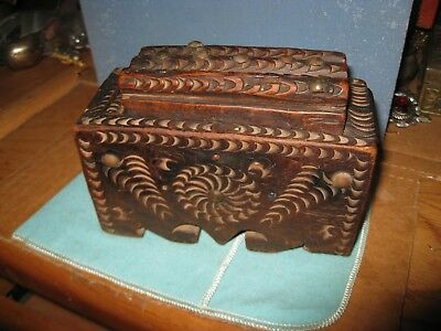 Folk Art Chip Carved Slide Top Box Spinning Wheel Design LOG TOP Inset stones - Art Boxes