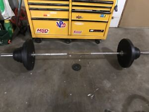 Olympic barbell and cast iron weights