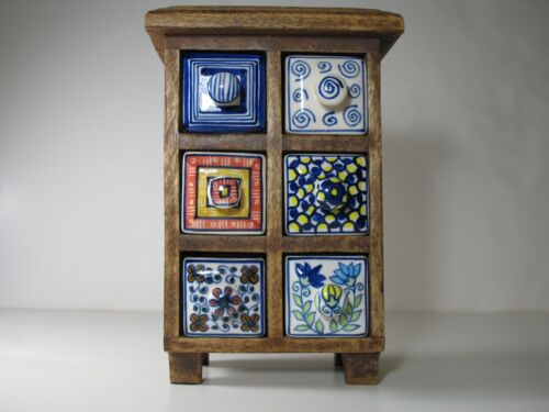 VintageTable/Counter Top Wooden Spice Rack with 6 Hand Painted Porcelain Drawers