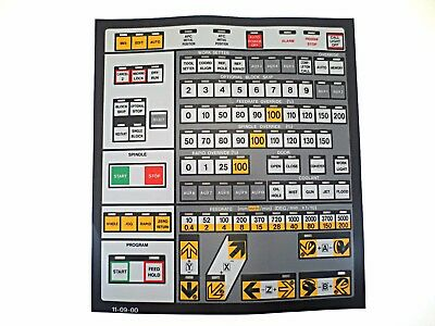 Cnc Machine Keypad Replacement Membraneoverlay 11-09-00. Nos