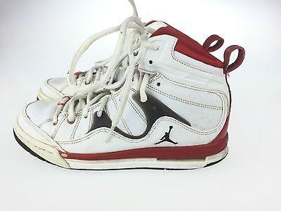 Nike Jordan Hoop TR 97  White Red Black High Top Basketball Court Shoes Sz 4.5Y Full Grain Leather Kids Shoes