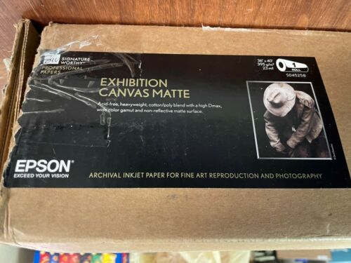 "Epson S045258 Exhibition Canvas Matte Inkjet Paper 36"" x 40"" Roll  Open Box New"