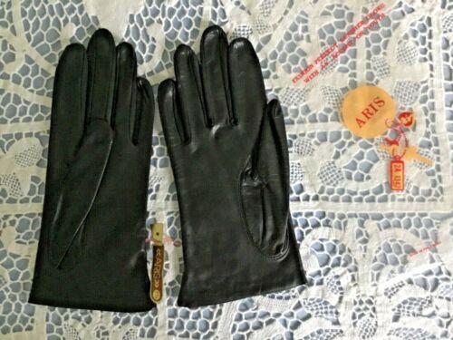 VTG NOS ARIS LADIES BLACK LEATHER DRESS GLOVES FASHION 7.5 VINTAGE USA NEW NWT