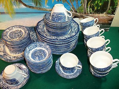 Staffordshire Ironshore Libertyv Blue   Made In England 77 Piece Set
