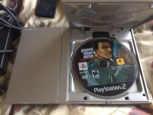 PS2 Slim Silver w 2 Controllers and GTA Liberty City Stories