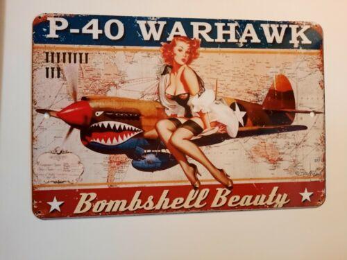 P-40 Warhawk Bombshell Beauty 8x12 Aluminum Metal Wall Garage Man Cave Sign