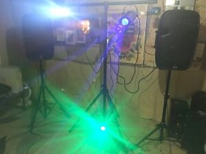 DJ speakers full setup with stands and DJ lights