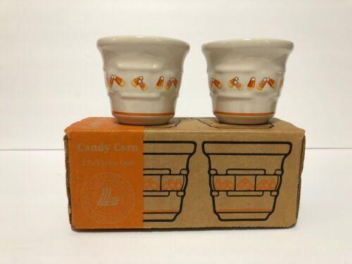 Longaberger Halloween Candy Corn Votive Cups Candleholder Set Of 2 Pottery Fall