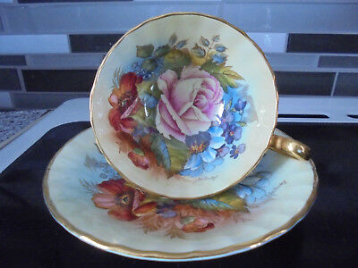 Aynsley Cup & Saucer Roses Signed Bailey