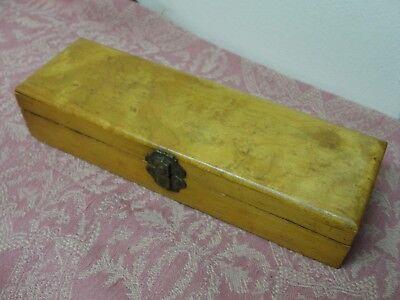 Vintage Wood Pencil Case Wooden Storage Box Hinged Lid & Decorative Closure - Hinged Wooden Box