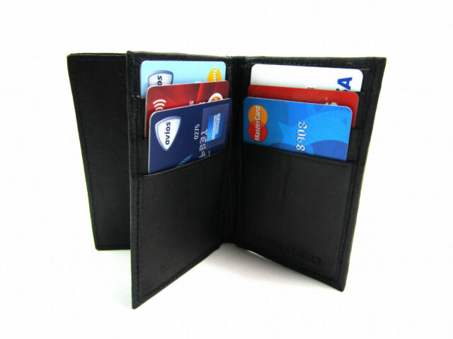 MENS WOMENS NEW LUXURY SOFT REAL BLACK LEATHER CREDIT CARD HOLDER PURSE WALLET