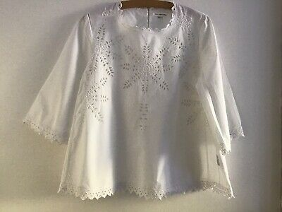 ISABEL MARANT NEWOUT TAGS White Cotton Broderie Anglaise Etoile Top Size 44 ( M)
