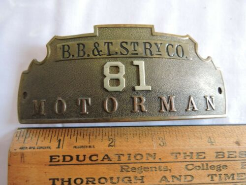 RARE 1896 - 1900 Brockton Bridgewater & Taunton Street Railway Hat Badge Boston