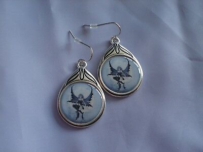 Amy Brown Moonchild Fairy Earrings Moon Child Cameo Blue Wings Girl Crescent New