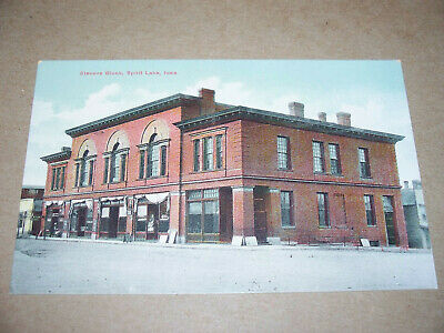 Early 1900's Stevens Block Postcard Spirit Lake Iowa W.P. Dexheimer Druggist