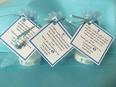 BABY SHOWER CANDLE christening FAVOURS BLUE PINK YELLOW GUEST THANK YOU GIFTS (Baby Shower Thank You Gifts)