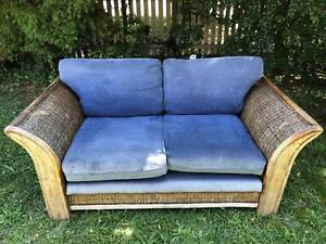 Outdoor Double Lounge Garden Bench Patio Chair Seating Blue Cane