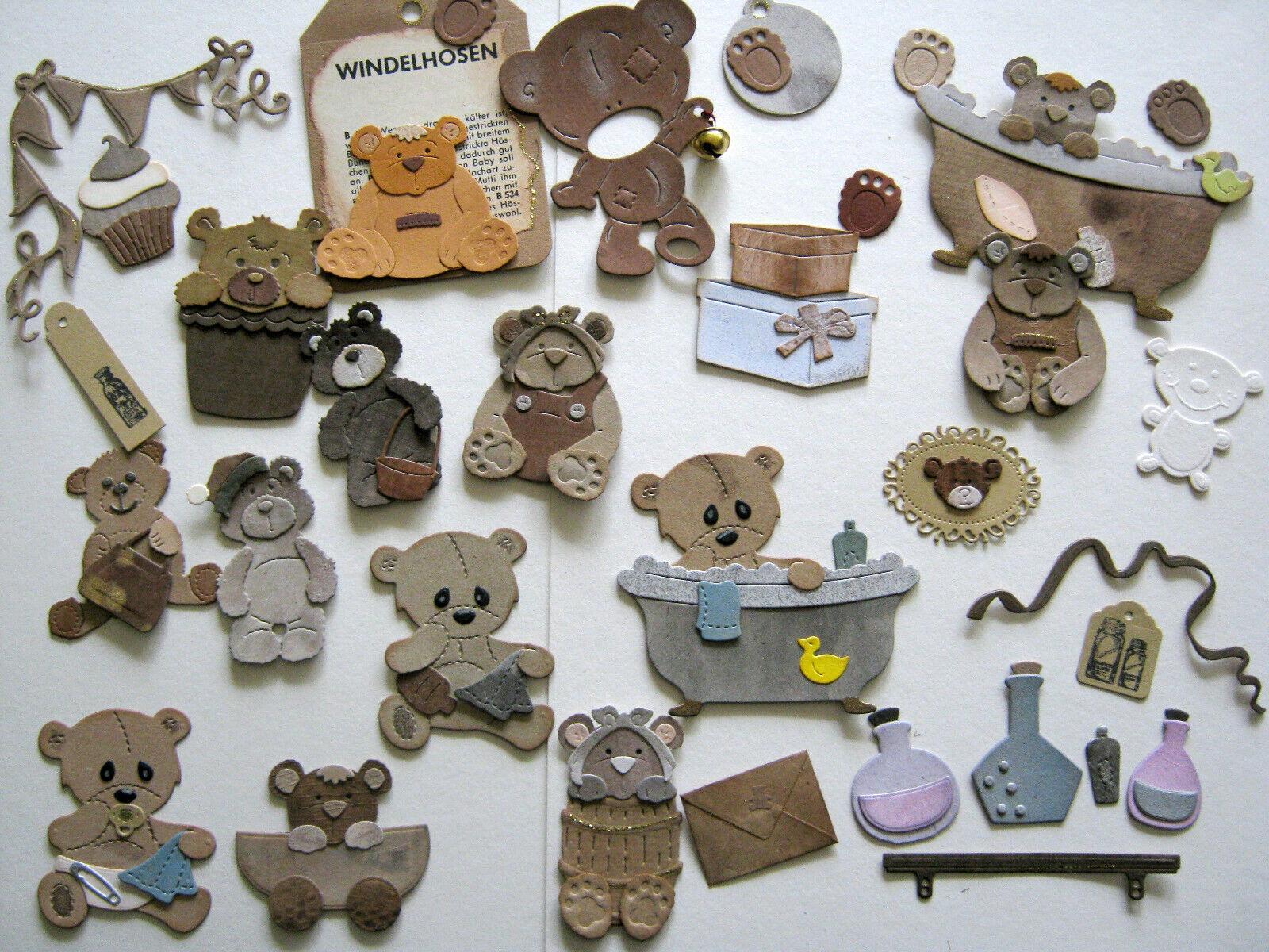 Kartenu. Bastelset Bärchen, Teddy. Vintage, Scrapbooking, Set 2