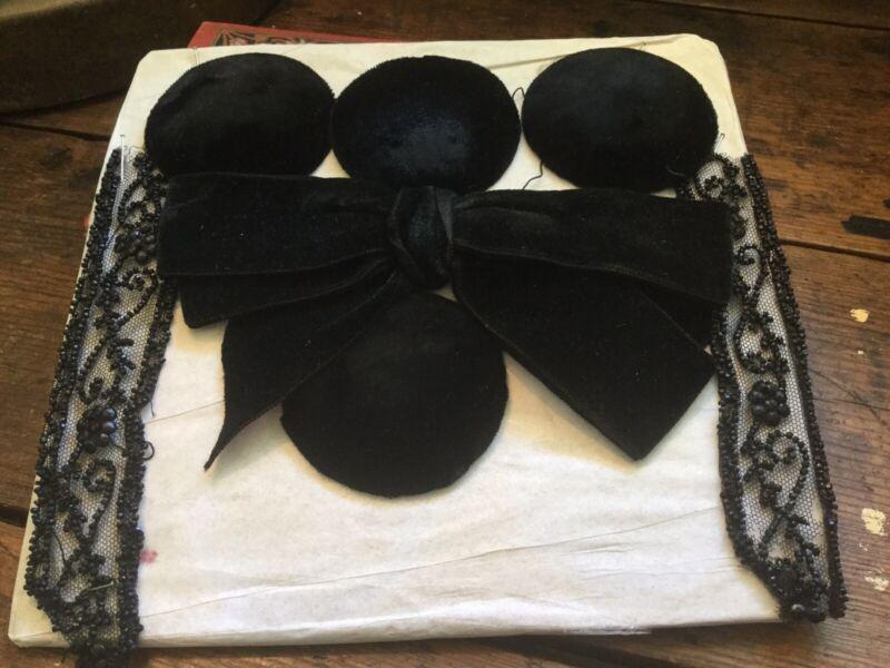 Antique Victorian Edwardian Black Velvet Bow & Button Appliqués Dress Hat Sewing