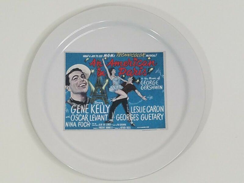 """Pottery Barn x TCM An American In Paris Movie Poster Salad Appetizer Plate 8.25"""""""