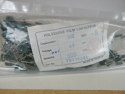 Polyester Film Capacitors .002uf 63v Qty 50 Nos Only 50 Pieces