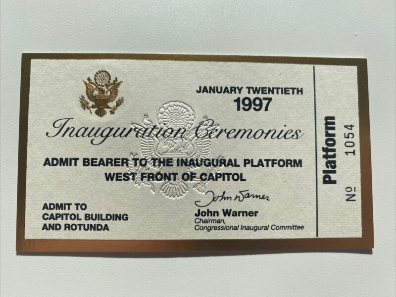 1997 President Bill Clinton Inauguration Ticket VIP Platform Rotunda Pass