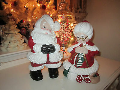 Light UP Vintage ATLANTIC MOLD Mr & Mrs Santa Claus FIGURE SET Ceramic
