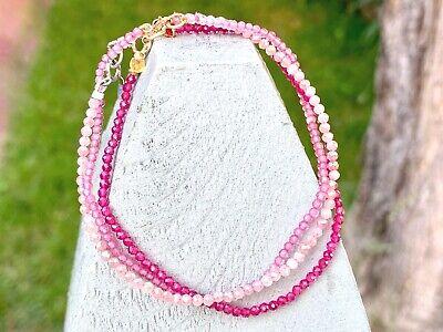 "gemstone bracelet set layering stack pink beaded gems 7"" sapphire topaz 14k gold"