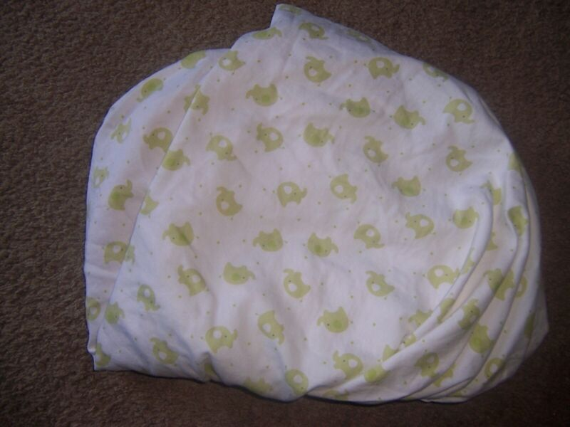 Babies R Us Green Elephant Fitted Crib Sheet 100% Cotton