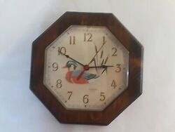 Sunbeam Quartz Wood Stained Wall Clock w/ Duck Battery Operated Made In USA