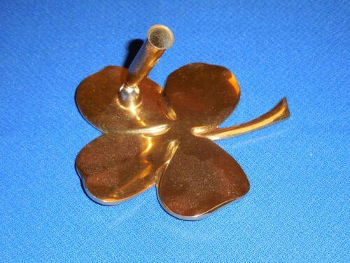 Gold Shamrock Paperweight / Pen Holder, Plated 24 K,Nice!