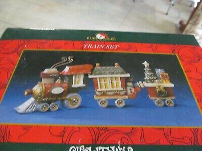 Kurt Adler Vtg Snowtown Train Set Christmas Village Railroad Cars Tree Snowman