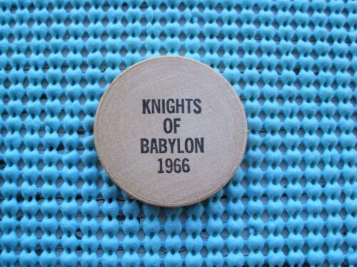 1966 Knights of BABYLON Wood Nickel Mardi Gras Doubloon
