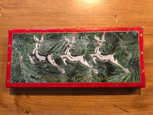 3 Vintage Silver Silverplate Reindeer Christmas Ornaments May Dept Stores IOB
