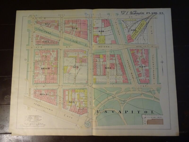 1892 Map of NW DC-  US Capitol - Rare large property specific detail