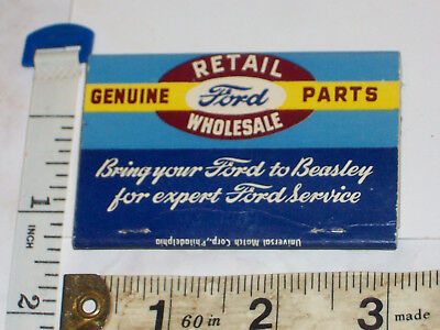 Ford car dealer, parts Fred Beasley Co. Williamsport, Pa. Full pack matches
