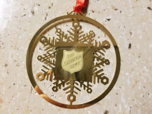 Salvation Army Flat Brass Snowflake Ornament Set of 10