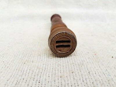 - Old Rare India Madras Mobile Unit 2 Sorting Post Office Wooden Handle Iron Seal