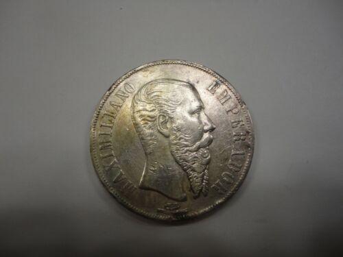1866 MO Mexican 1 Peso MAXIMILIANO EMPERADOR KM 388.1 EMPEROR MAXIMILIAN
