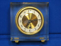 Acrylic Mid Century MODERN Seth Thomas Clock Facet-IE Desk Mantel Clock Brass AC