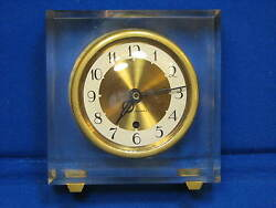 Acrylic Mid Century MODERN Seth Thomas Clock Facet-IE Desk Mantel Clock Brass AC