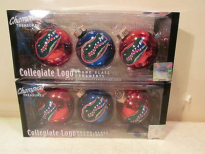 2 PKS. FLORIDA GATORS ROUND GLASS CHRISTMAS ORNAMENTS FROM CHAMPION TREASURES